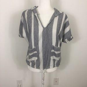 Roxy Grey/White Striped V Neck Short Sleeve